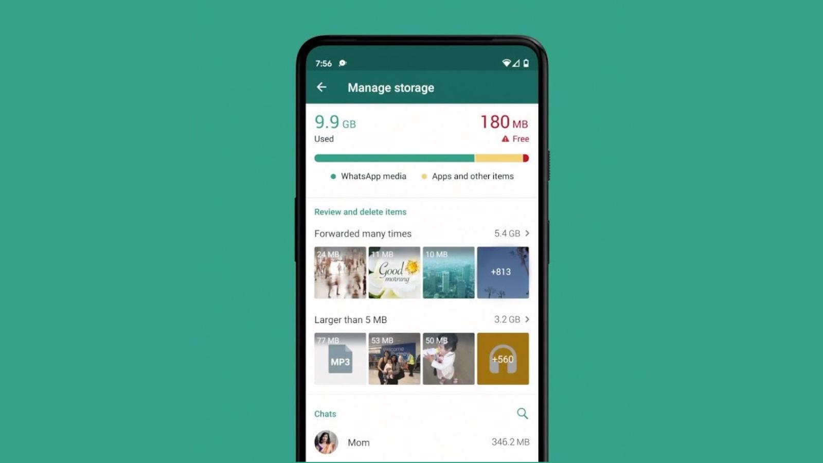 Imagem mostrando como remover arquivos do whatsapp na nova ferramenta