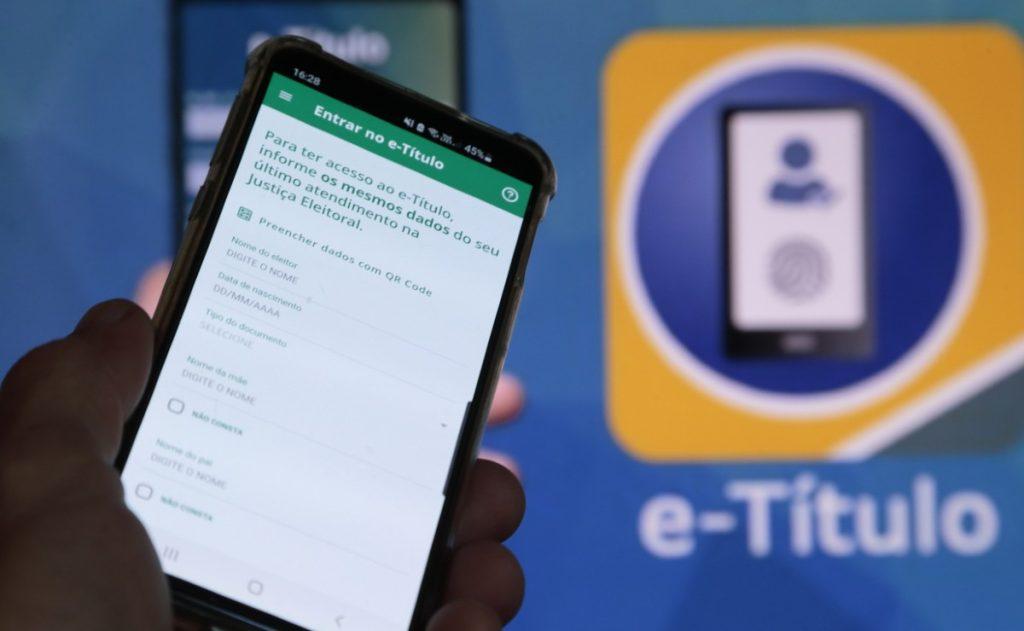 Tela inicial do aplicativo e-título, o título de eleitor digital