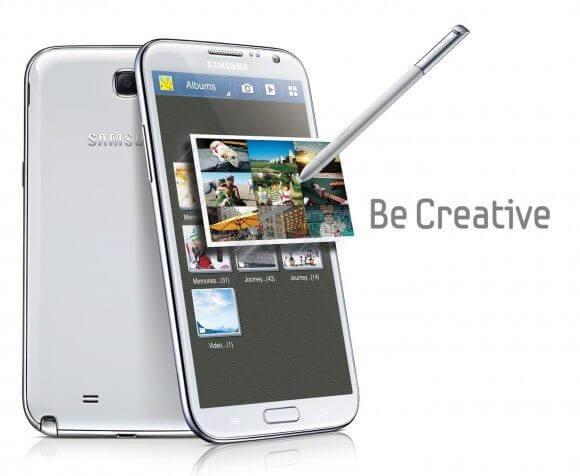 Galaxy note 2, branco, lançado em 2012.