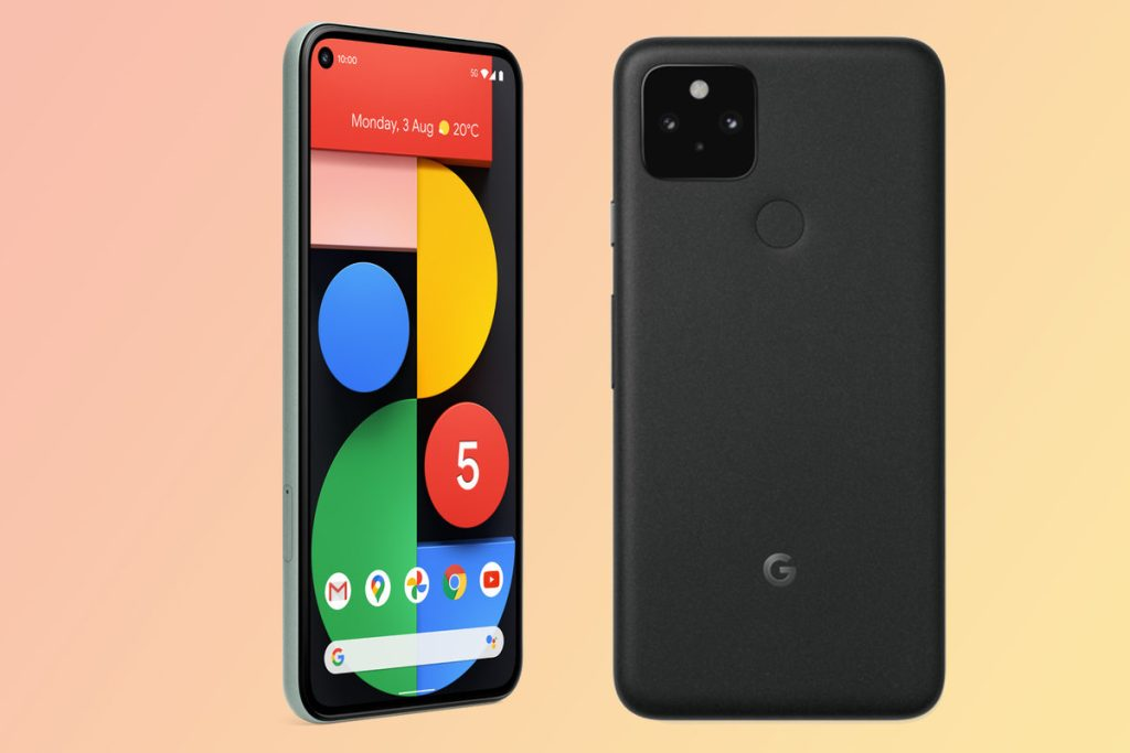 Parte traseira e frontal do google pixel 5