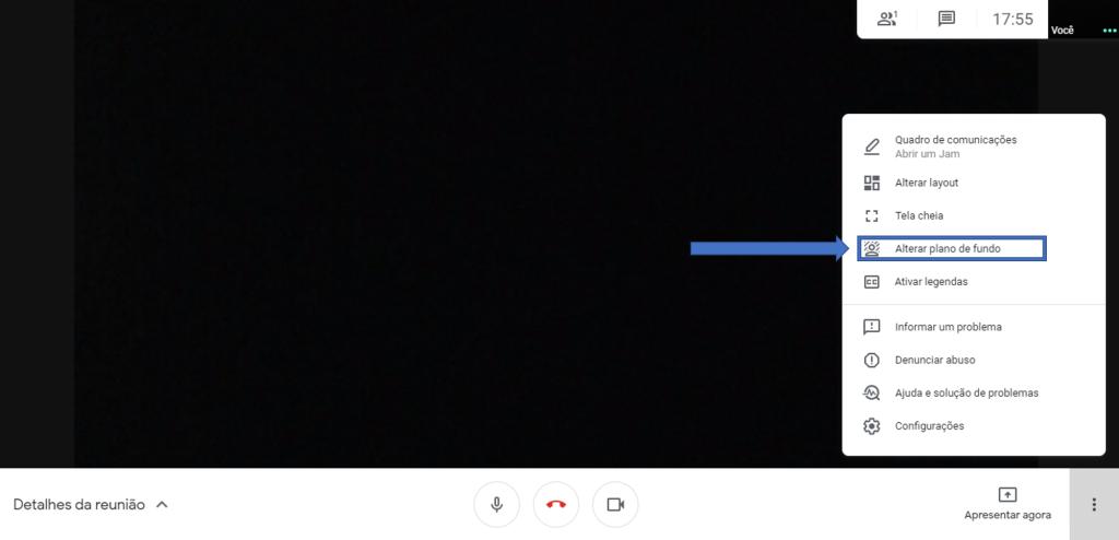 Print de Imagem com passo a passo para Google Meet