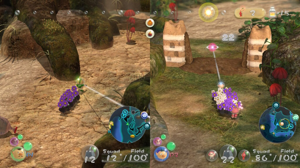 Tela do modo multiplayer de Pikmin 3 Deluxe.