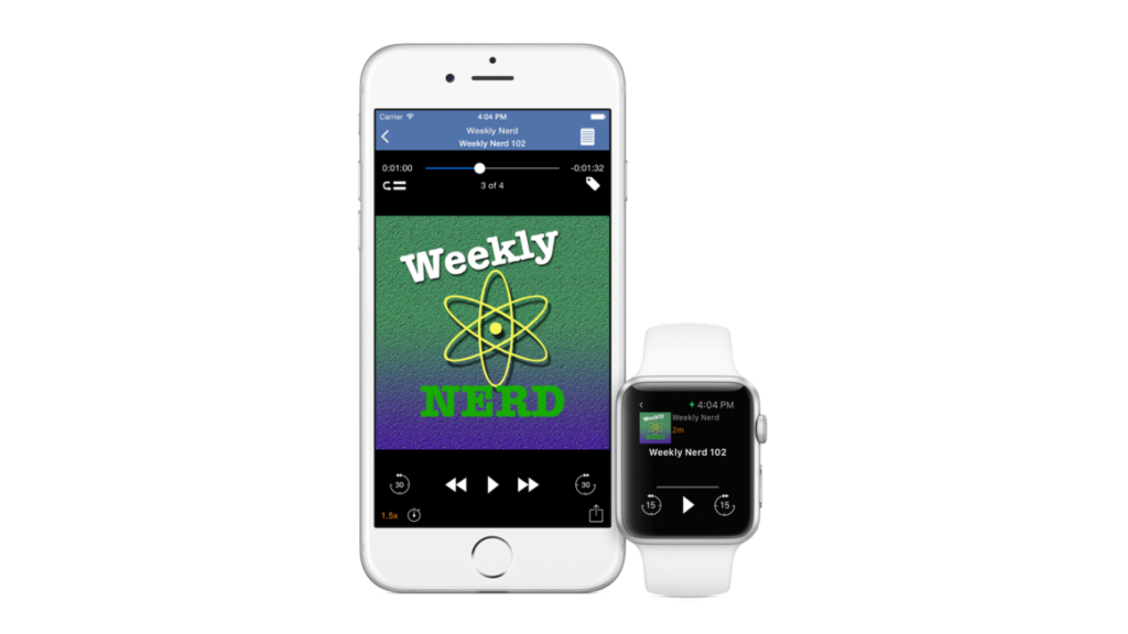 Imagem de iphone e apple watch com icatcher, um dos apps de podcast para iphone
