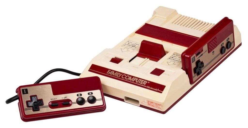O primeiro console da história da nintendo, o family computer, mais conhecido como famicom.
