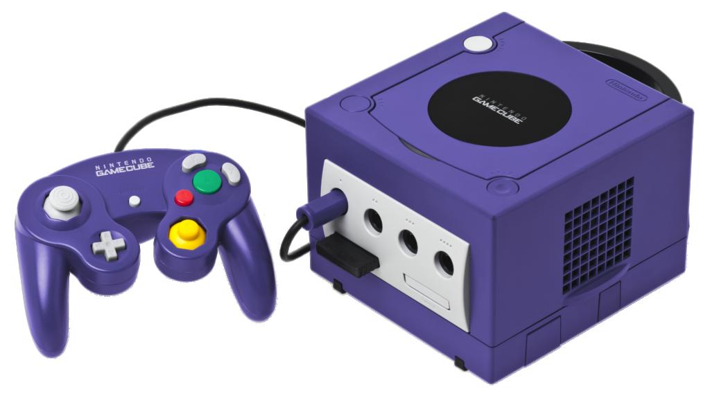 O gamecube com o seu icônico controle, adorado por muitos jogadores profissionais de super smash bros.