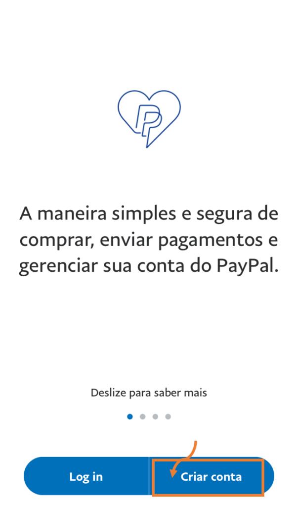 Tela do aplicativo do paypal para criar conta