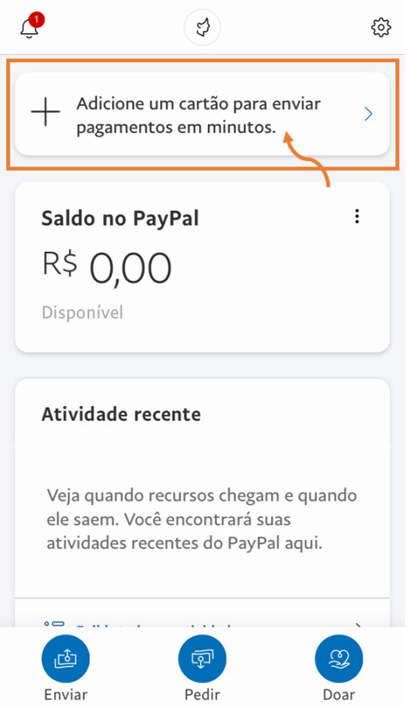Tela da página inicial do app do paypal para incluir dados de cartões.