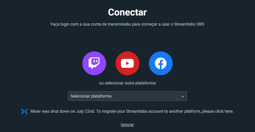 Streamlabs obs requer conta na twitch, facebook ou youtube.