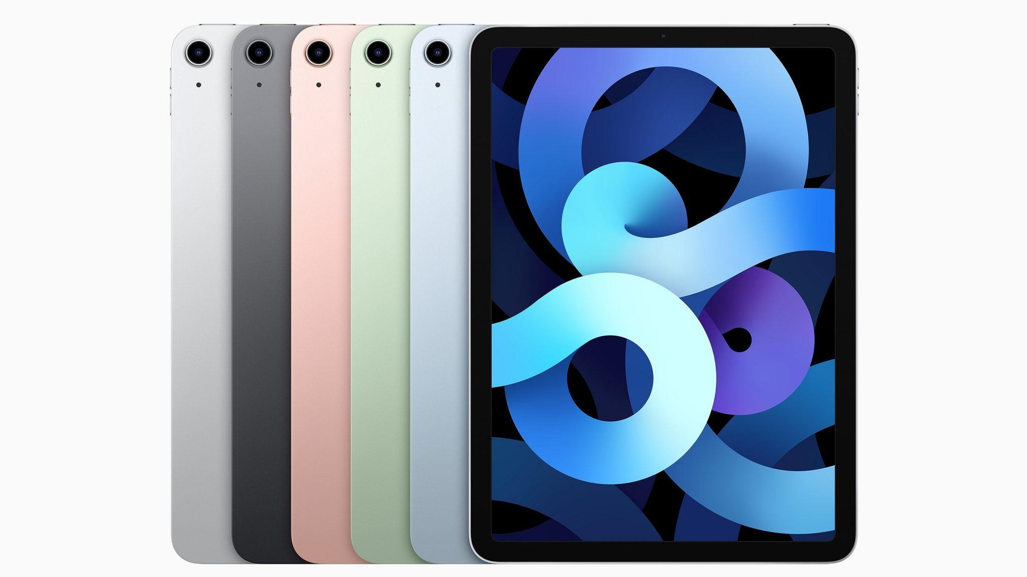 Modelos do ipad air 4ª geração emplihados: cinza, rosa, verde, azul virados de costas, prateado virado pra frente