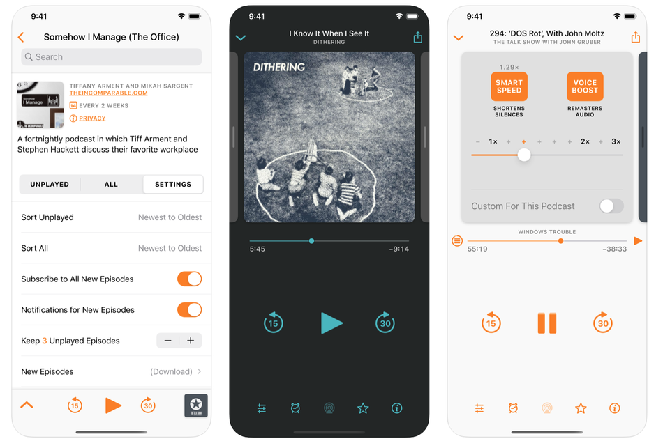 Prints do overcast, um dos apps de podcast para iphone