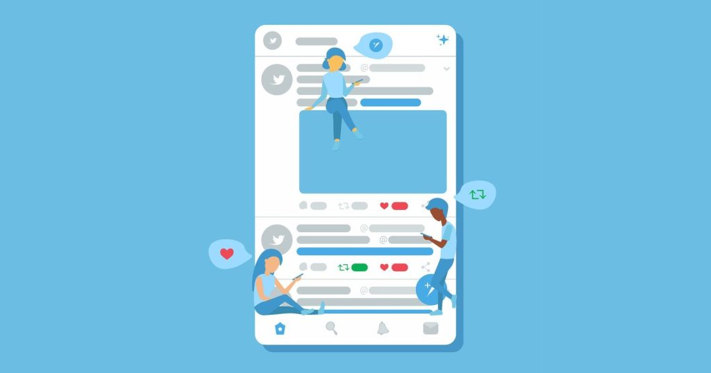 Ilustração de pessoas conversando por meio de rede social, que se assemelha ao twitter