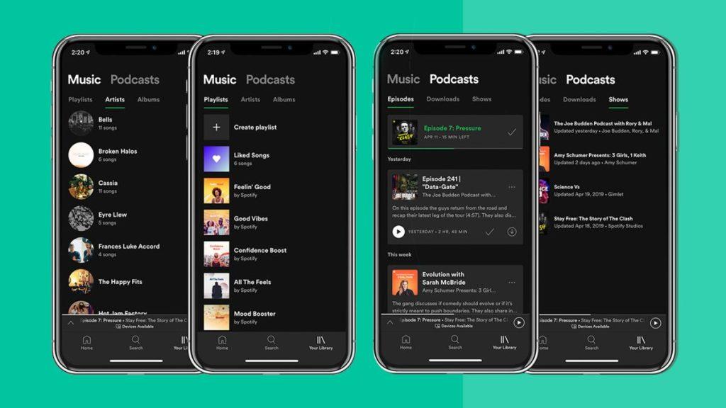 Imagem de iphones com spotify, um dos apps de podcast para iphone