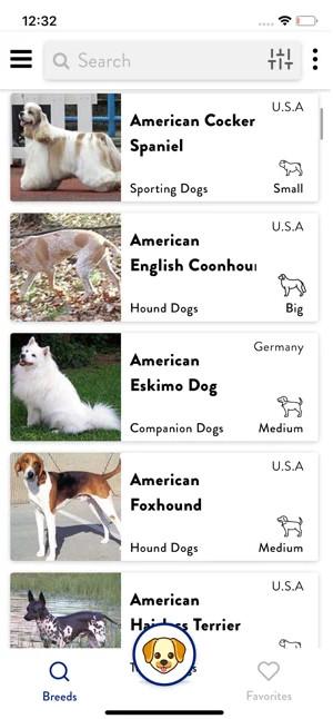 Captura de tela do aplicativo the dogs pedia no iphone