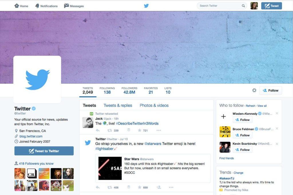Imagem do twitter com capa no perfil