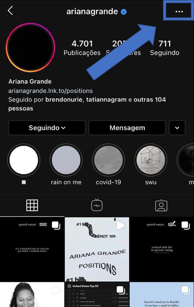 Printscreen de tutorial para ajudar a bloquear usuários indesejados
