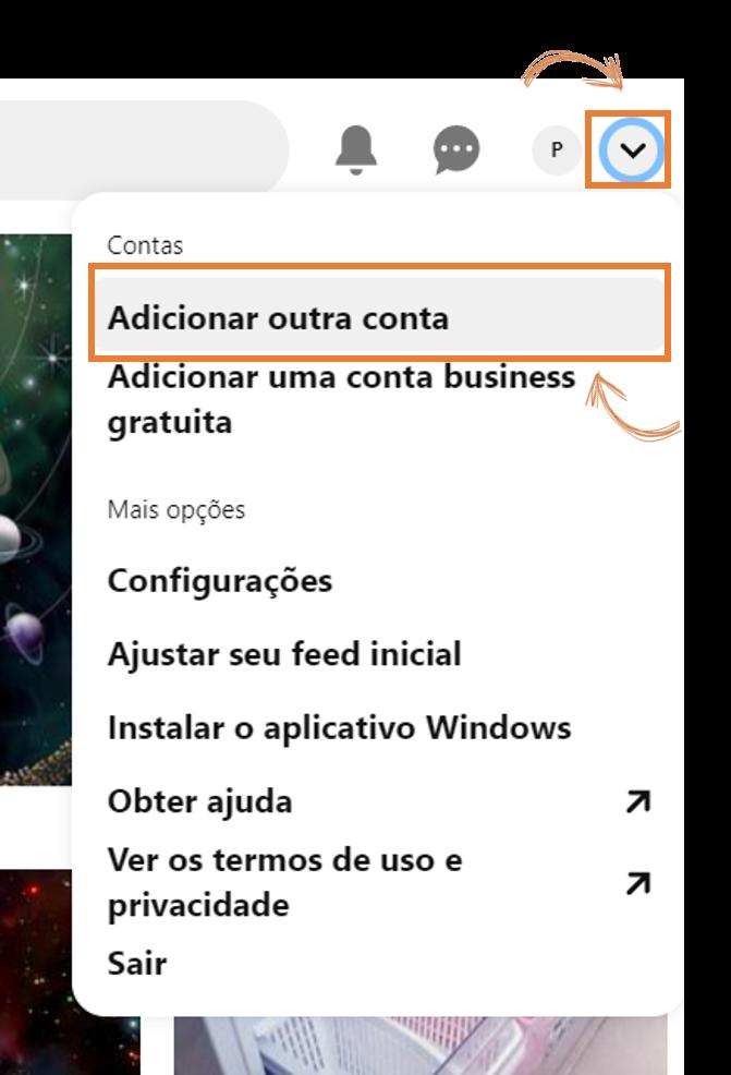 Tela do pinterest no navegador para adicionar outra conta.