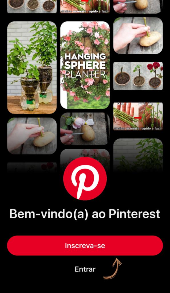Tela do aplicativo para criar conta no pinterest