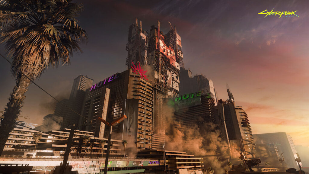 Cyberpunk 2077 night city ao entardecer