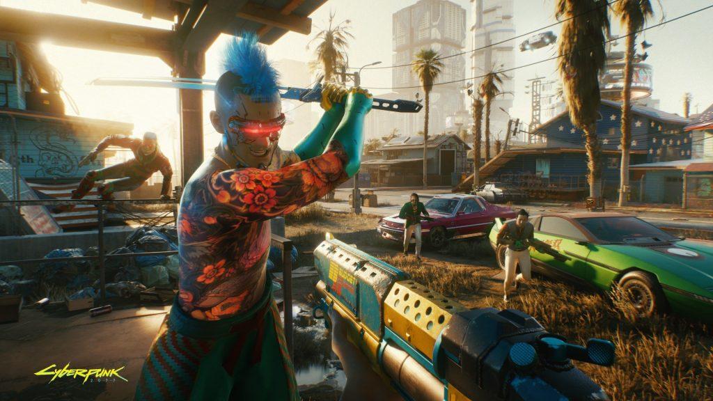Cyberpunk 2077 samurai punk com moicano azul em pose de ação