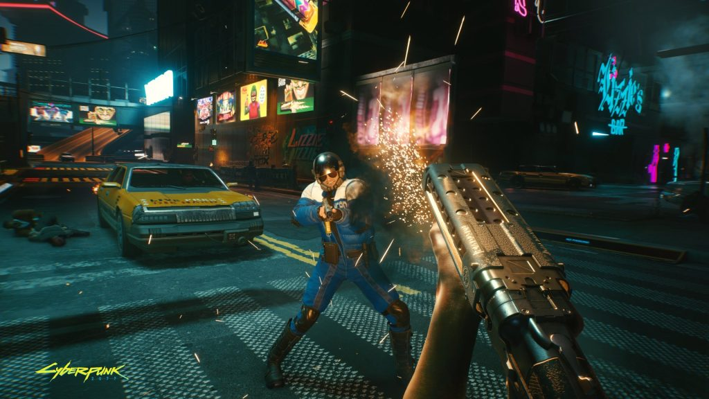Cyberpunk 2077 tiros trocados com policial