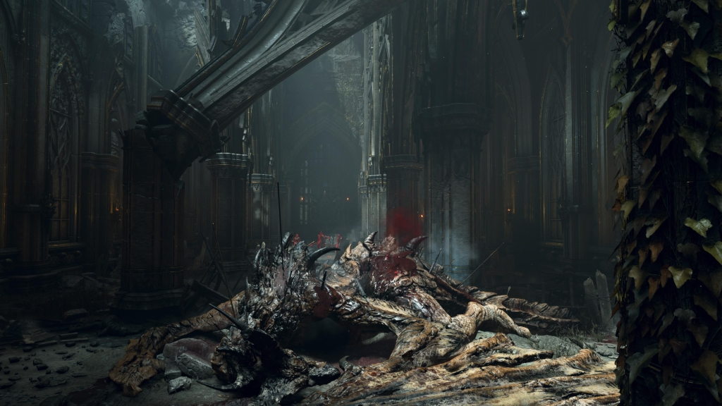 Corpo de um dragão na entrada do castelo de boletaria