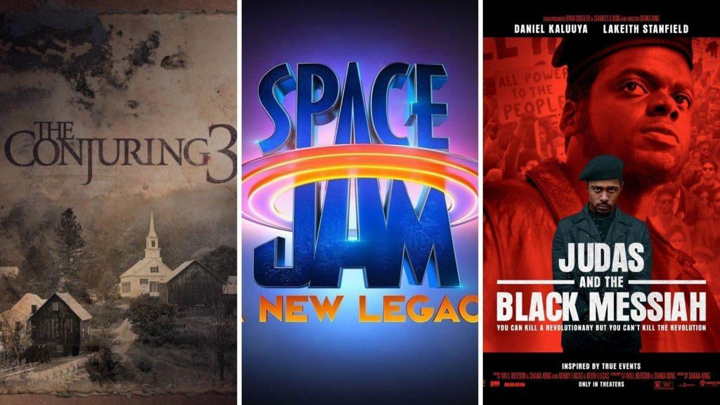 Montagem com filmes de 2021 que a warner vai lançar no cinema e no streaming