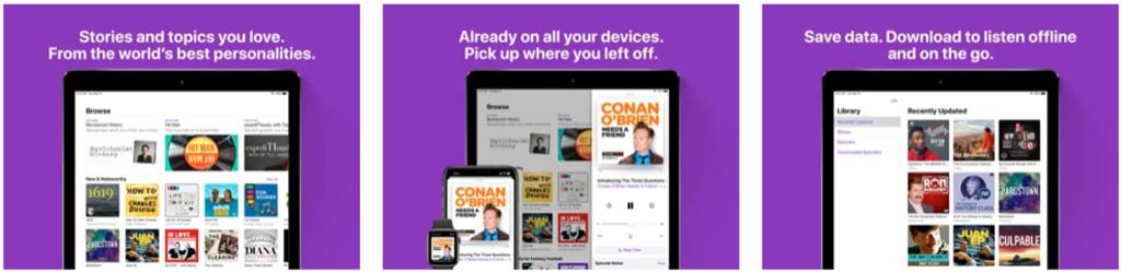 Aplicativo apple podcasts para smartphone e tablet