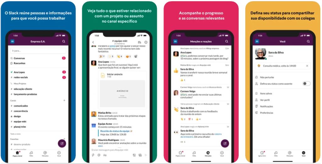 Aplicativo slack para dispositivos apple