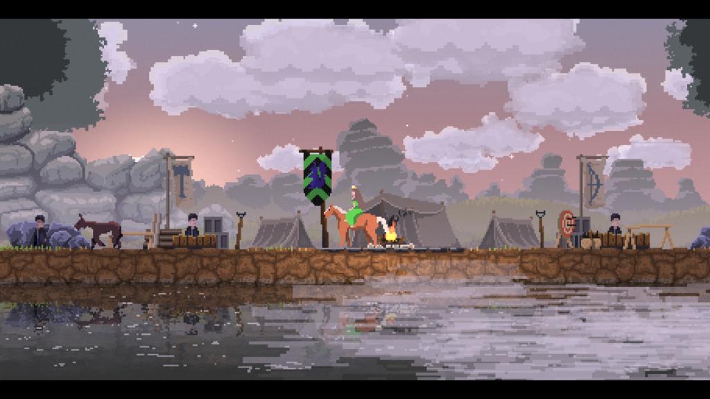 Vila inicial do jogo kingdom new lands com um emblema verde, preto e roxo