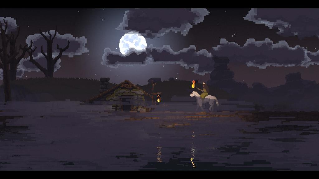 Casa de um ermitão em kingdom new lands durante a noite