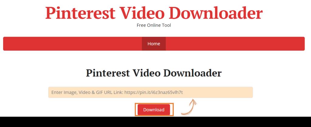 Tela do pinterest video downloader  para baixar um vídeo do pinterest