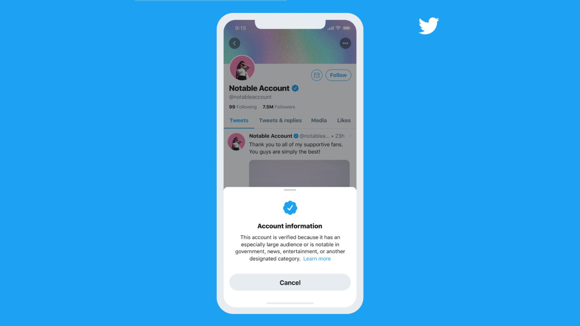 Novo processo de verificação de contas do twitter