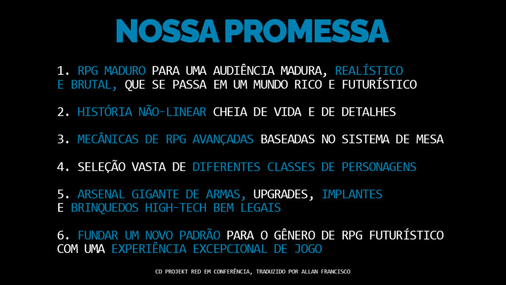 Cyberpunk 2077 promessas em 2012