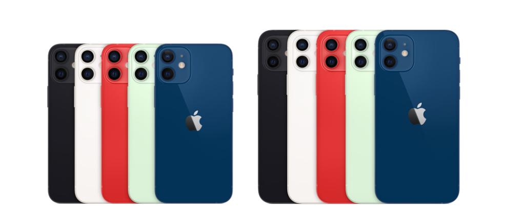 Diferença de tamanho entre os iphones 12 mini e iphone 12.
