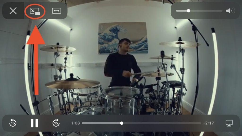 Print de um vídeo com ícone do modo picture-in-picture, uma das dicas para iphone 12