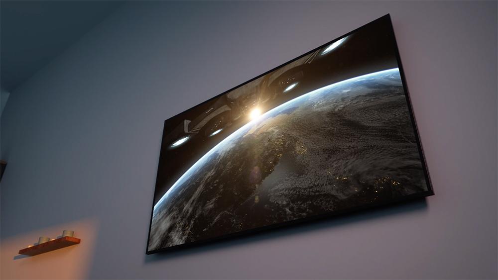Lg nanocell 8k dolby vision iq tv em uma parede