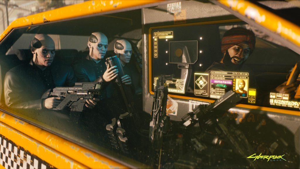 Cyberpunk 2077 passageiros robôs dentro de um taxi