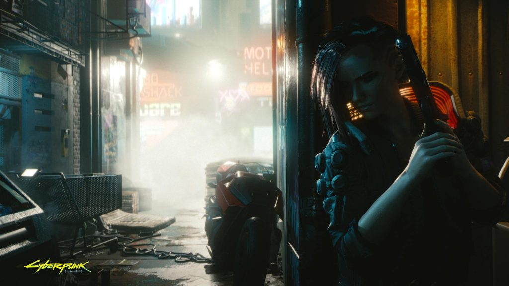 Cyberpunk 2077 v encostada sobre parede em um beco escuro