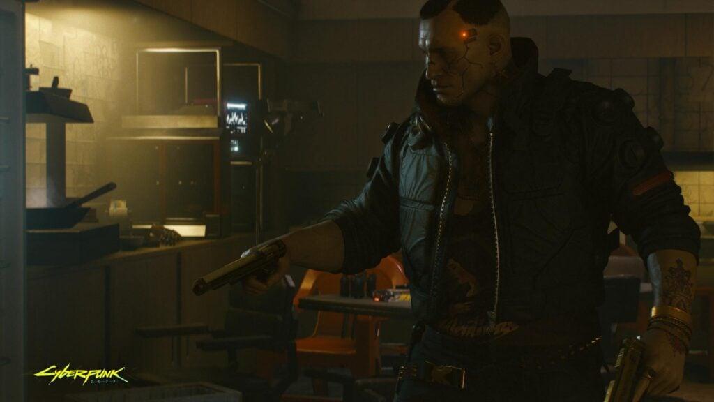 Cyberpunk 2077 jackie aponta arma