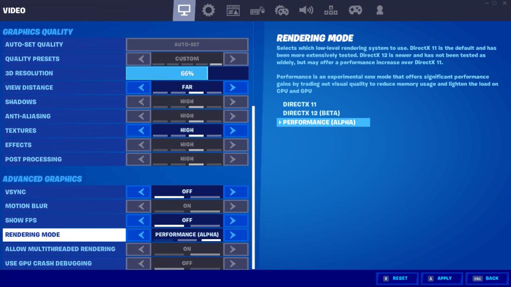 Melhore sua taxa de quadros in-game com o modo desempenho do fortnite.