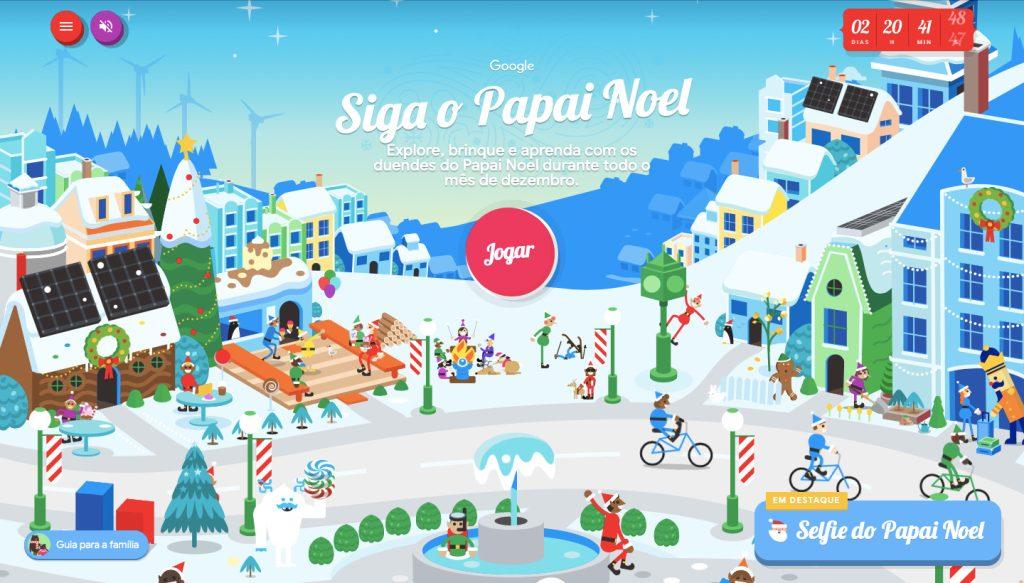 Imagem do jogo siga o papai noel no google