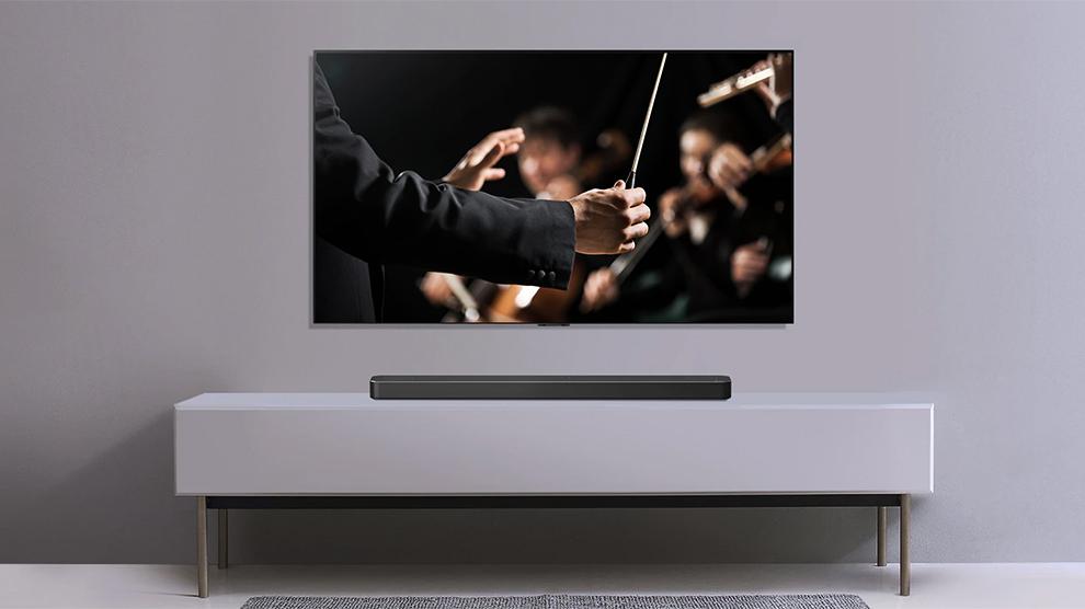Lg sn8yg, o soundbar poderoso, elegante e inteligente da lg. A alta potência do soundbar lg sn8yg traz o som de cinema para dentro da sua casa!