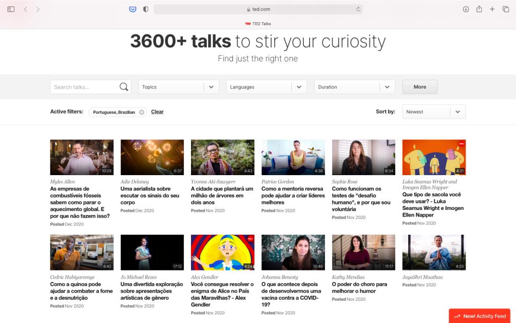 Página inicial do ted talks, uma das alternativas ao youtube