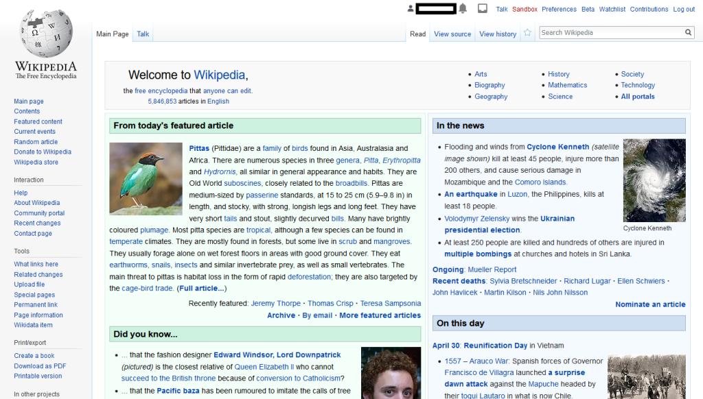 Página principal da wikipédia