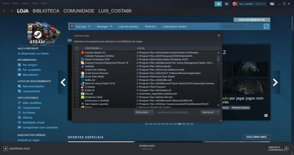 Tela do steam para adicionar um game da biblioteca do computador
