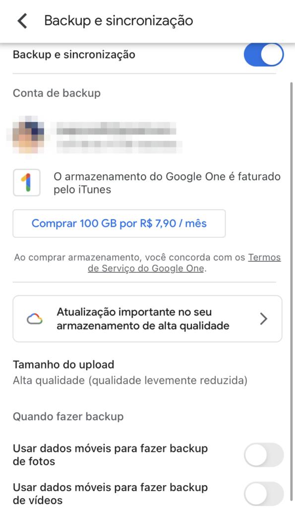 Imagem mostra configurações de backup do google fotos no aplicativo.