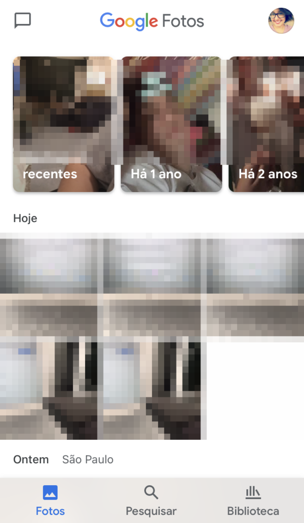 Imagem mostra backup do google fotos no aplicativo.
