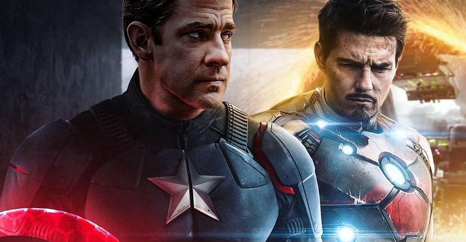 Krasinski e cruise como capitão américa e homem de ferro, respectivamente.