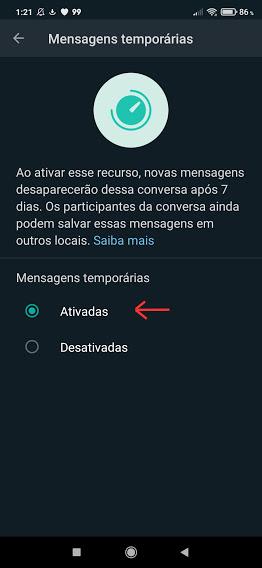 Mensagens temporárias do whatsapp em grupo