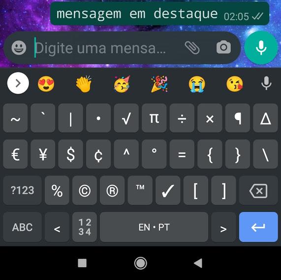 Mensagem em destaque do whatsapp